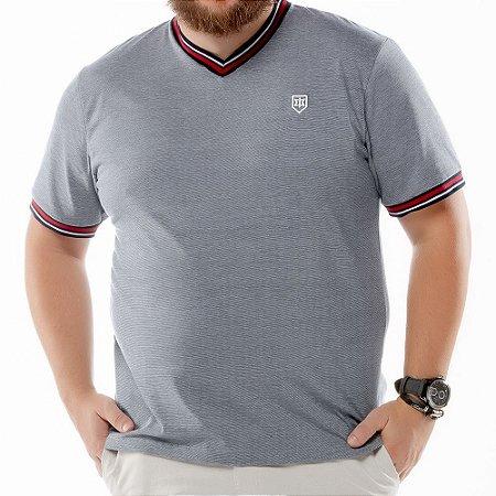 """Camiseta Retilínea Decote """"V"""" Plus TZE Azul Marinho"""