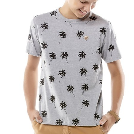Camiseta Estampa Coqueiros Menino TZE Mescla