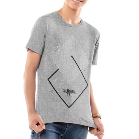Camiseta Estampa Geométrica Menino TZE Mescla