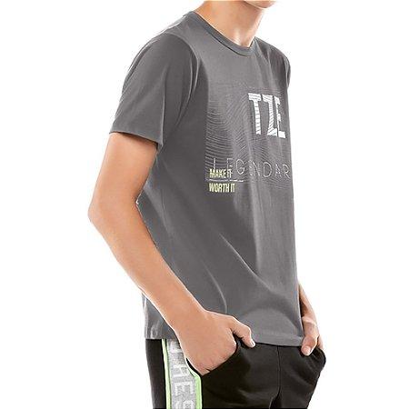Camiseta Estampa Listras Menino TZE Cinza