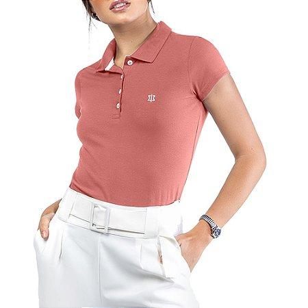 Camisa Polo Cotton Bordado Oui.la.vie Rosa
