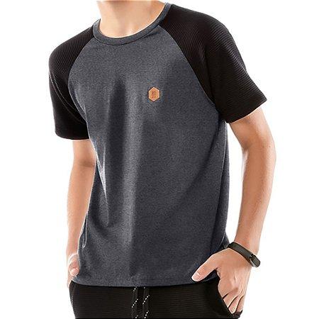Camiseta Raglan Under Menino No Stress Mescla Escuro
