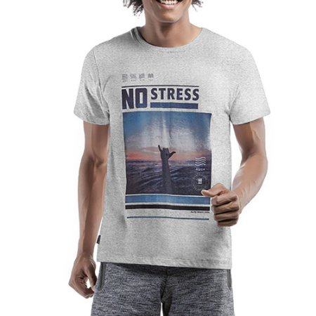 Camiseta Decote Redondo No Stress Cinza