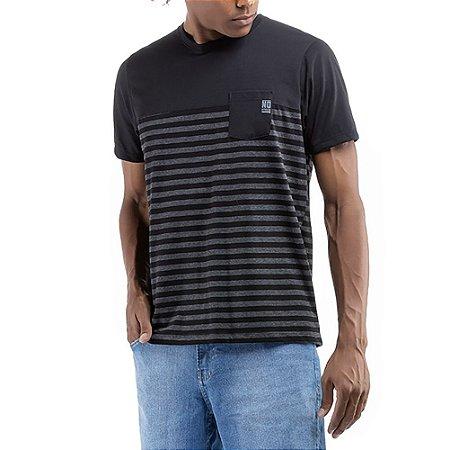 Camiseta C/Bolso Listrada No Stress Preta