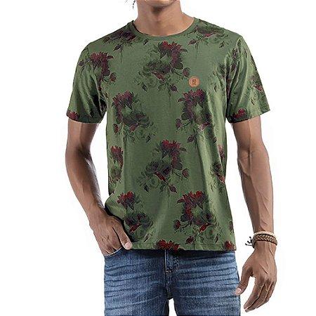Camiseta Floral C/ Aplique No stress Verde