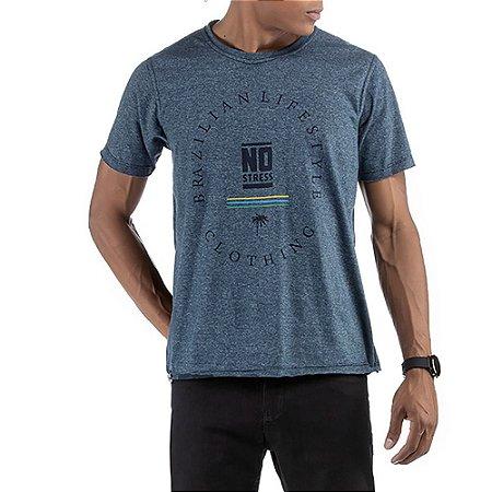 Camiseta Dupla Face No Stress Mesclado Azul