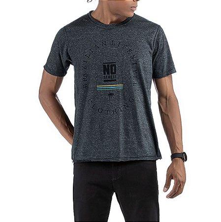 Camiseta Dupla Face No Stress Mesclado Preto