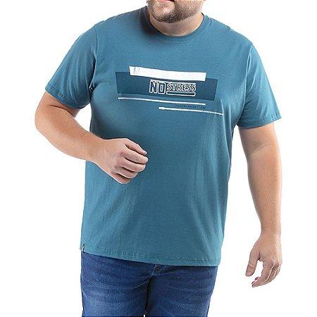 Camiseta C/ Estampa No Stress Plus Azul