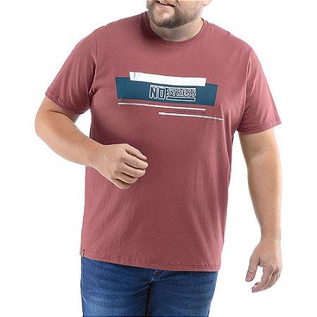 Camiseta C/ Estampa No Stress Plus Vermelha