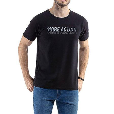 Camiseta C/ Estampa e Aplique TZE Preta