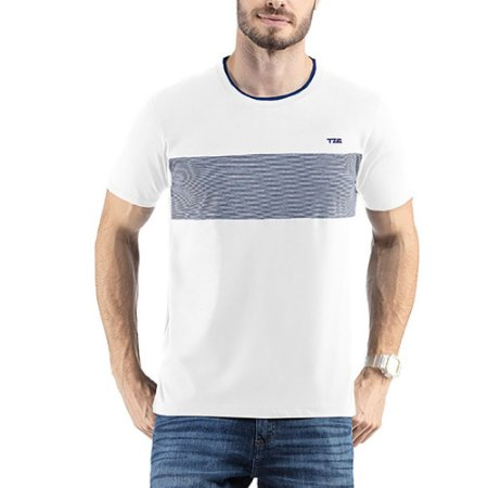 Camiseta C/ Estampa e Bordado TZE Branca