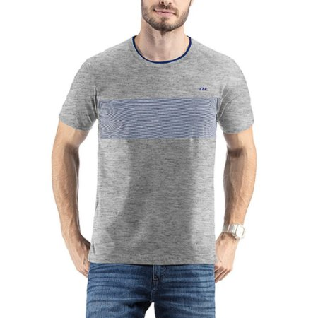 Camiseta C/ Estampa e Bordado TZE Cinza