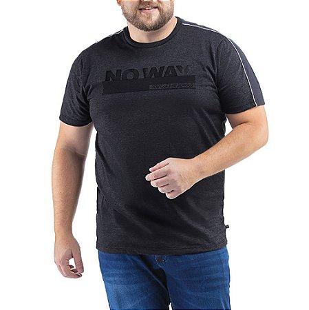 Camiseta C/ Listra e Estampa TZE Plus Cinza Escuro