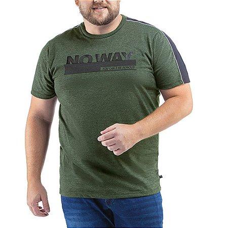 Camiseta C/ Listra e Estampa TZE Plus Verde Folha
