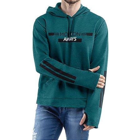 Blusao c/ capuz bolso e estampas Moletom Flyer TZE Mescla Verde