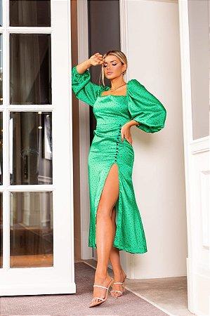 Vestido midi verde poa carol - cloude