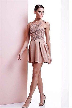 8a24399df Vestido curto nude com tule bordado - Cloude - Mabô Boutique - Loja ...