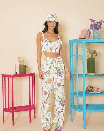 calça jeans wide leg floral - alcance