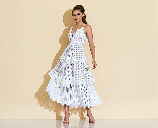 Vestido midi off white fabi - cloude
