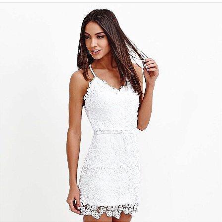 Vestido guipir branco - Bambola