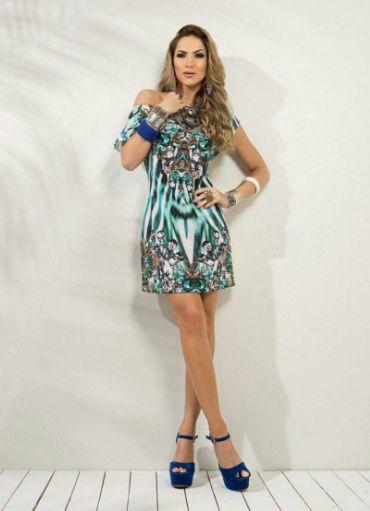 Vestido Reto Estampado Azul