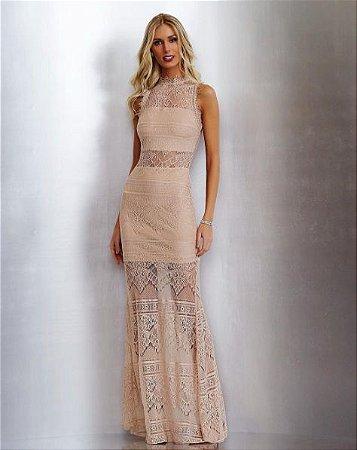 Vestido Longo Rendado Rosê - Murau