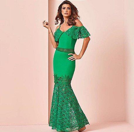 45e8677aed Vestido Longo Verde Crepe com Renda - Mabô Boutique - Loja ...
