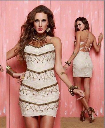 0217ce115 Vestido curto com tule bordado e corrente - Mabô Boutique - Loja ...