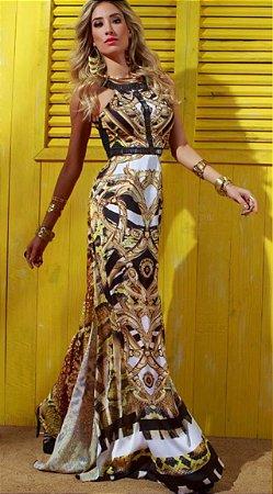 Vestido longo estampado bordado