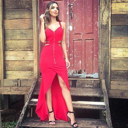 Vestido Vermelho com Ziper - Aquarella