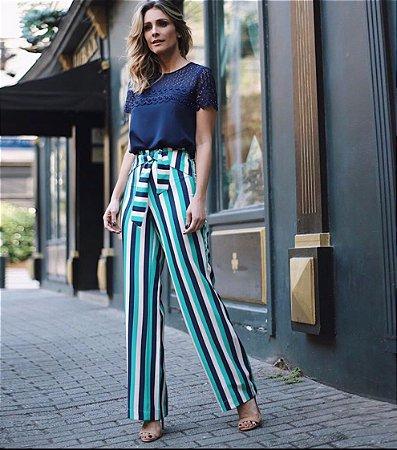 Calça Verde de Crepe Pantalona