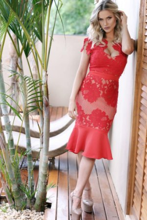 Vestido Midi Vermelho Olga - Cloude