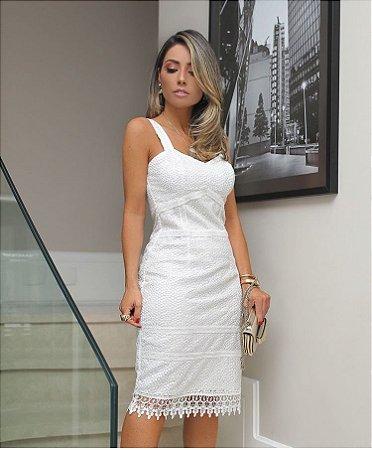Vestido Midi Off White Renda Guipir Luzia Fazzoli