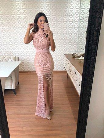 Vestido Longo rosa com Abertura - Cloude