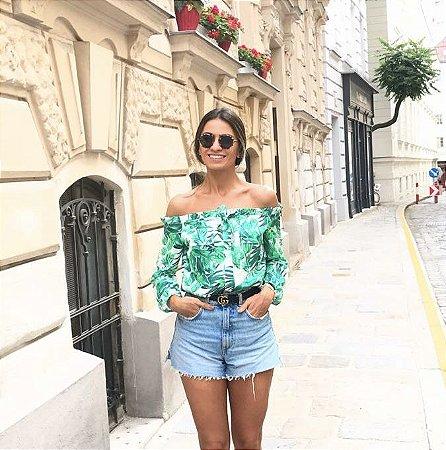 Blusa Camisa Ciganinha Estampada Isadora - Cloude
