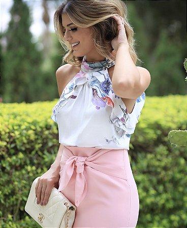 Blusa off white floral - Luzia Fazzolli