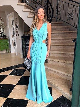 Vestido Longo Azul - Aquarella