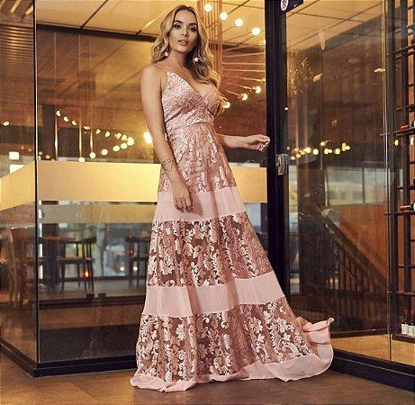 Vestido Longo Rosa Katarina - Cloude