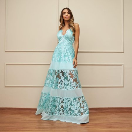 Vestido Longo Azul Katarina - Cloude