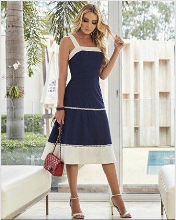 Vestido Midi Azul e Branco de Linho - Luzia Fazzolli