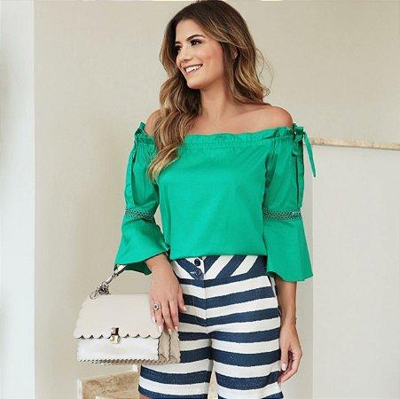 Blusa Verde Ciganinha Tricoline - Luzia Fazzolli