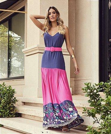 Vestido Longo Pink e Azul Bordado Nina - Desnude