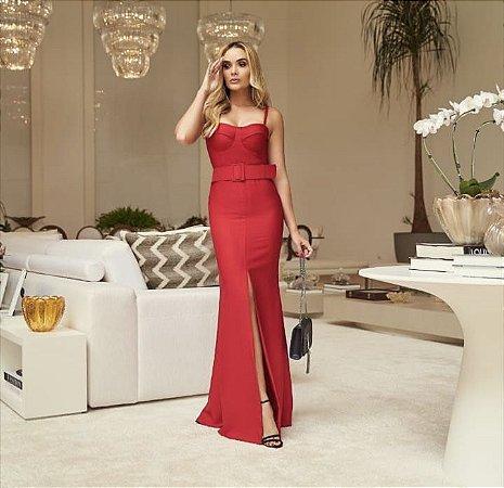 Vestido Longo Vermelho Alfaiataria Elida - Desnude