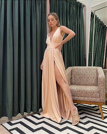 Vestido Longo Nude Beatriz - LeBlog