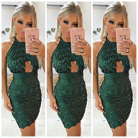 Vestido Curto Verde Bandagem Preminum Acetinada