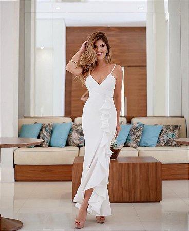Vestido Longo Off White de Alcinha pespontado - Zen