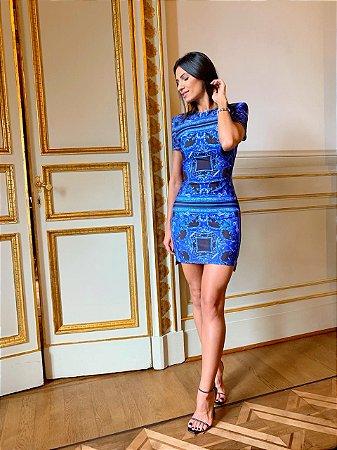 Vestido curto azul neoprene - Cloude