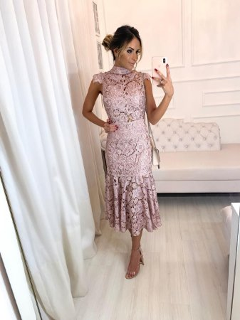 Vestido Midi Rosa - Cloude