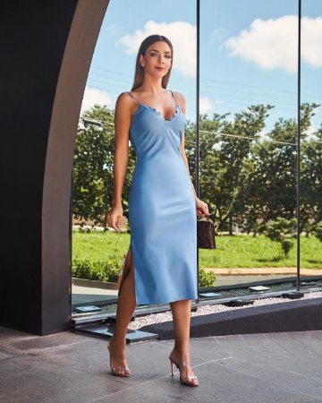 Vestido Midi Azul de Couro Eco - Cloude