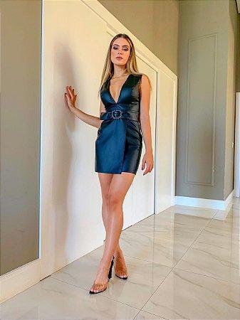 Vestido Preto Couro Eco Jessica - Cloude